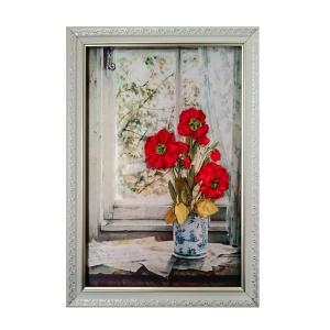 تابلوی روباندوزی گل های شقایق